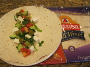 Making greek salad in a wrap